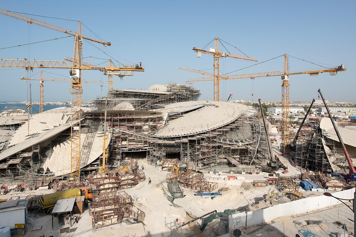 Chantier du National Museum of Qatar - architecte Jean Nouvel. Doha, Qatar, mai 2015.